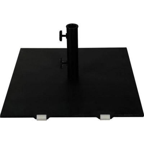 """Picture of FiberBuilt Square Steel 128 """" Diameter Umbrella Base With Wheels - Black Finish"""