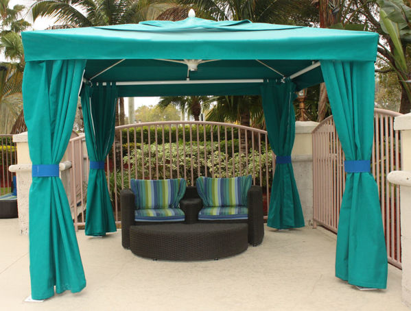 Picture of FiberBuilt Pavilion-Oceana 10 ft Umbrella with canopy - side walls
