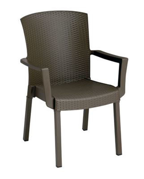 Picture of Grosfillex Havana Classic Stacking Armchair In Espresso Pack Of 4