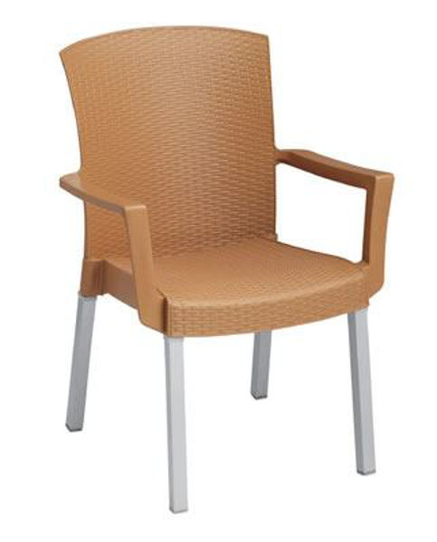 Picture of Grosfillex Havana Classic Stacking Armchair In Tobacco Pack Of 12