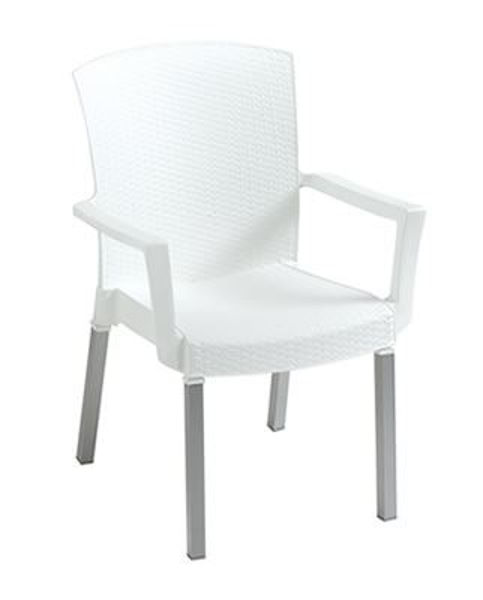 Picture of Grosfillex Havana Classic Stacking Armchair In White Pack Of 4