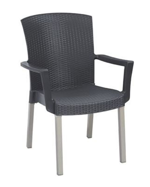 Picture of Grosfillex Havana Classic Stacking Armchair In Charcoal Pack Of 12