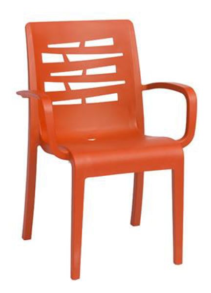 Picture of Grosfillex Essenza Stacking Armchair In Orange Pack Of 4
