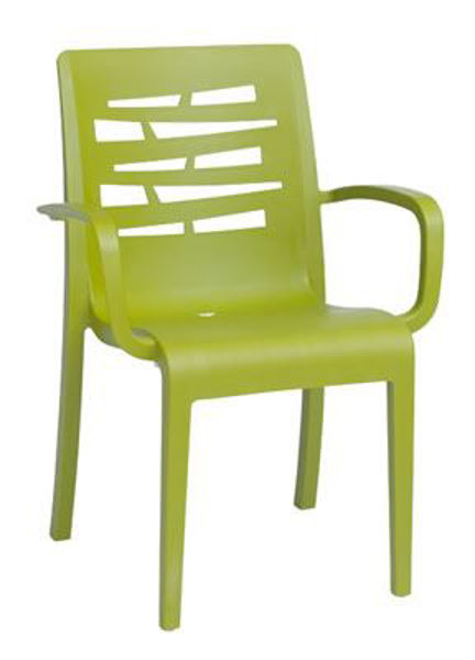 Picture of Grosfillex Essenza Stacking Armchair In Fern Green Pack Of 4