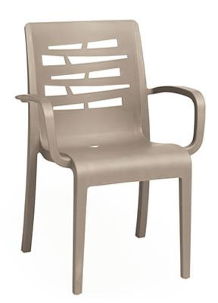 Picture of Grosfillex Essenza Stacking Armchair In Taupe Pack Of 4