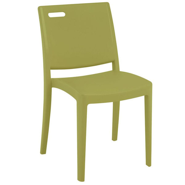 Picture of Grosfillex Metro Stacking Chair In Cactus Green Pack Of 4