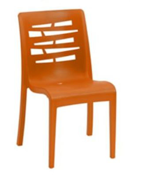 Picture of Grosfillex Essenza Stacking Chair In Orange Pack Of 4