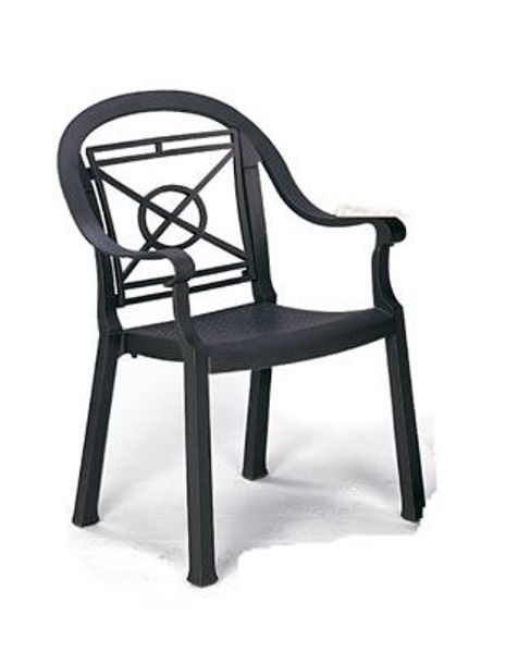 Picture of Grosfillex Victoria Classic Stacking Armchair In Charcoal Pack Of 12