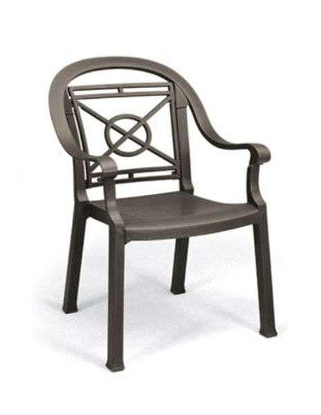 Picture of Grosfillex Victoria Classic Stacking Armchair In Bronze Mist Pack Of 12