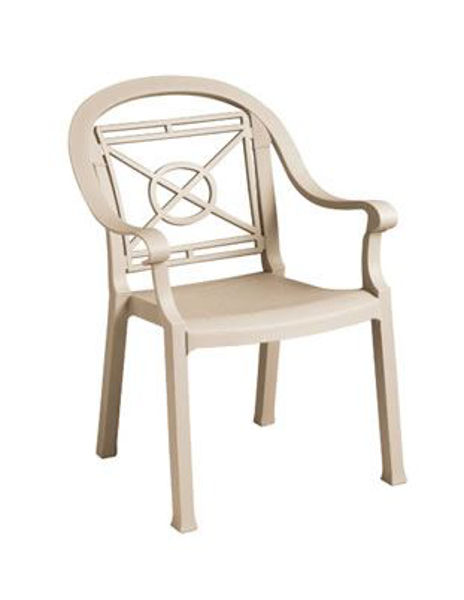 Picture of Grosfillex Victoria Classic Stacking Armchair In Sandstone Pack Of 4