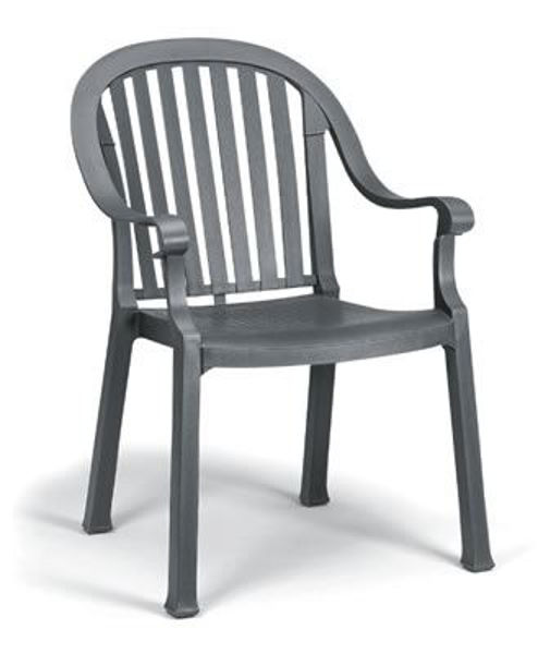Picture of Grosfillex Colombo Stacking Armchair In Charcoal Pack Of 4