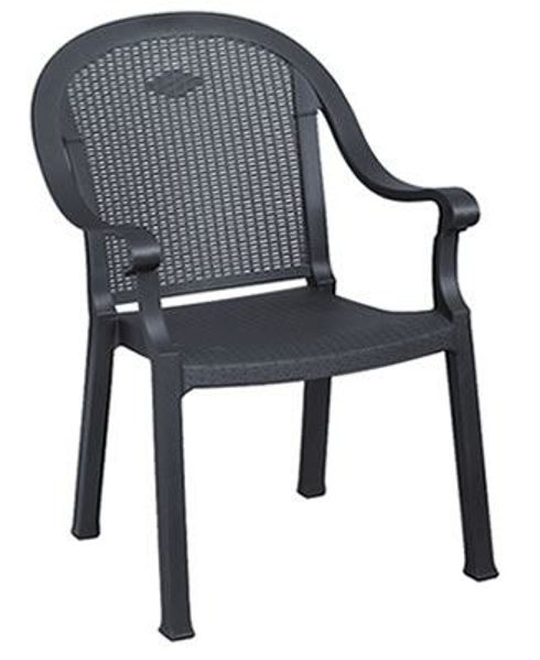 Picture of Grosfillex Sumatra Classic Stacking Armchair In Charcoal Pack Of 16