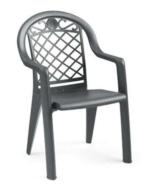 Picture of Grosfillex Savannah Stacking Armchair In Charcoal Pack Of 4