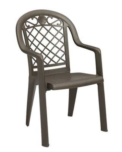 Picture of Grosfillex Savannah Stacking Armchair In Bronze Mist Pack Of 4