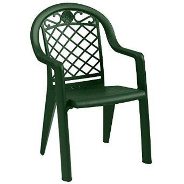 Picture of Grosfillex Savannah Stacking Armchair In Metal Green Pack Of 4