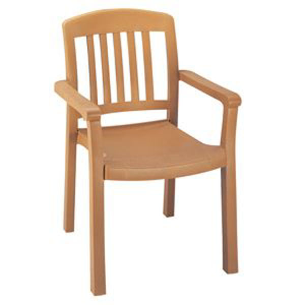 Picture of Grosfillex Atlantic Classic Stacking Armchair In Teakwood Pack Of 4