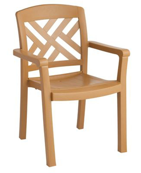 Picture of Grosfillex Sanibel Stacking Armchair In Teakwood Pack Of 4