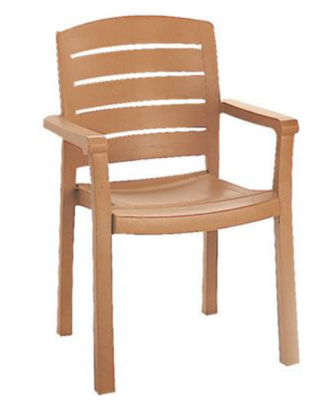Picture of Grosfillex Acadia Stacking Armchair In Teakwood Pack Of 12