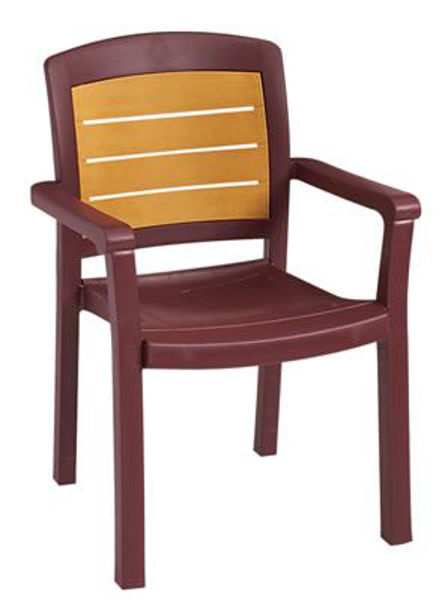 Picture of Grosfillex Aquaba Classic Stacking Armchair In Bordeaux Pack Of 4