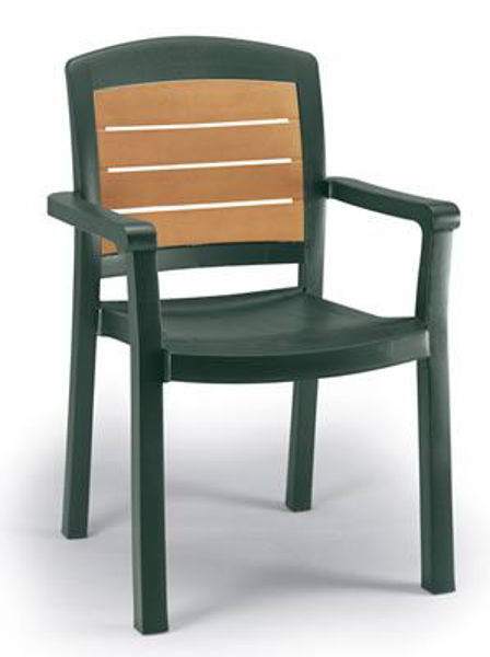 Picture of Grosfillex Aquaba Classic Stacking Armchair In Amazon Green Pack Of 4