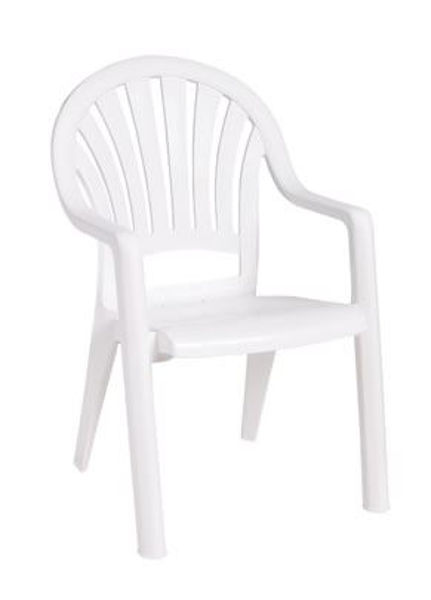 Picture of Grosfillex Pacific Fanback Stacking Armchair In White Pack Of 4