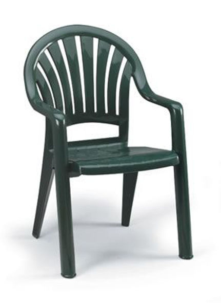 Picture of Grosfillex Pacific Fanback Stacking Armchair In Amazon Green Pack Of 4