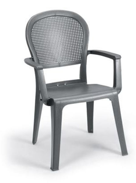 Picture of Grosfillex Seville Highback Stacking Armchair In Charcoal Pack Of 16