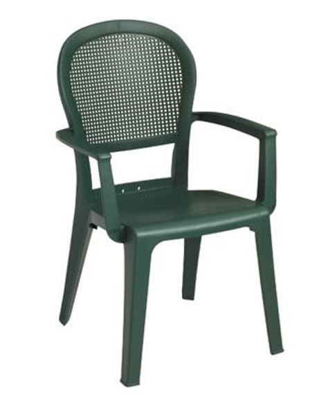 Picture of Grosfillex Seville Highback Stacking Armchair In Metal Green Pack Of 16