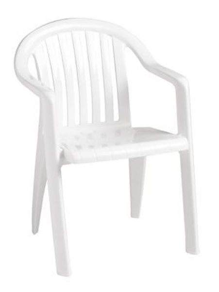 Picture of Grosfillex Miami Lowback Stacking Armchair In White Pack Of 4