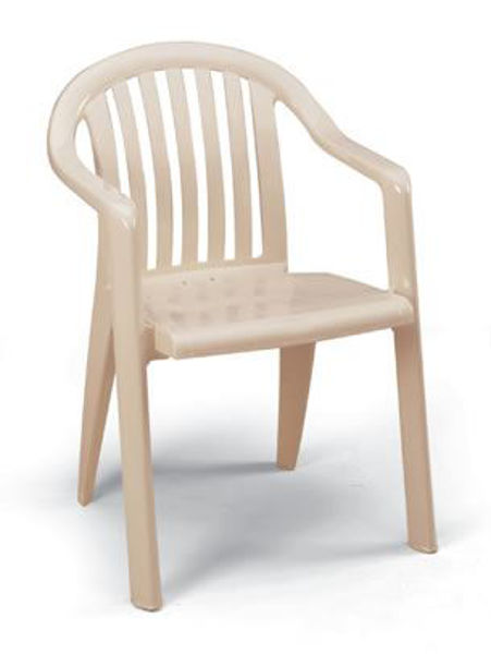 Picture of Grosfillex Miami Lowback Stacking Armchair In Sandstone Pack Of 4