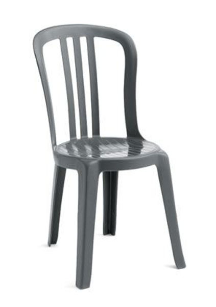 Picture of Grosfillex Miami Bistro Stacking Sidechair In Charcoal Pack Of 4