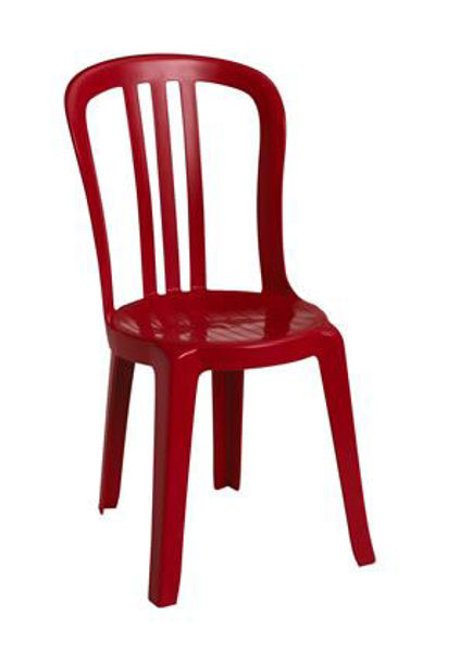 Picture of Grosfillex Miami Bistro Stacking Sidechair In Red Pack Of 4