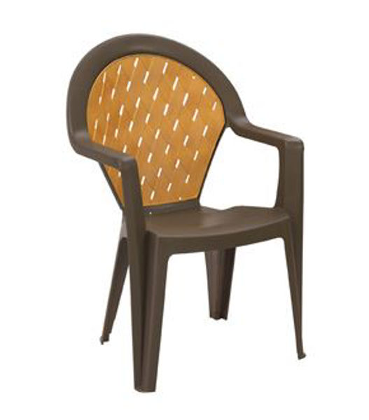 Picture of Grosfillex Amazona Highback Stacking Armchair In Bronze Mist Pack Of 4