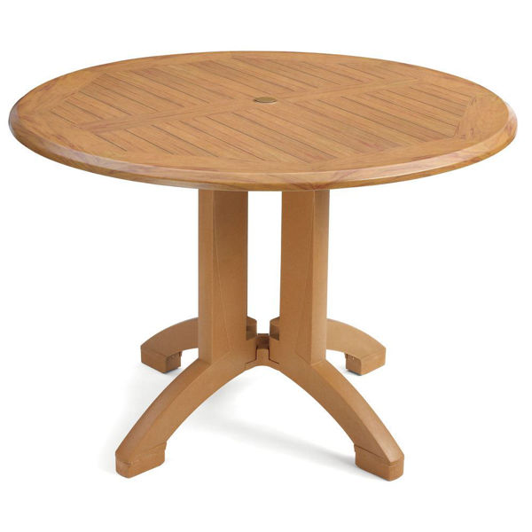 "Picture of Grosfillex Winston 42"" Round Table In Teak Decor Pack Of 1"