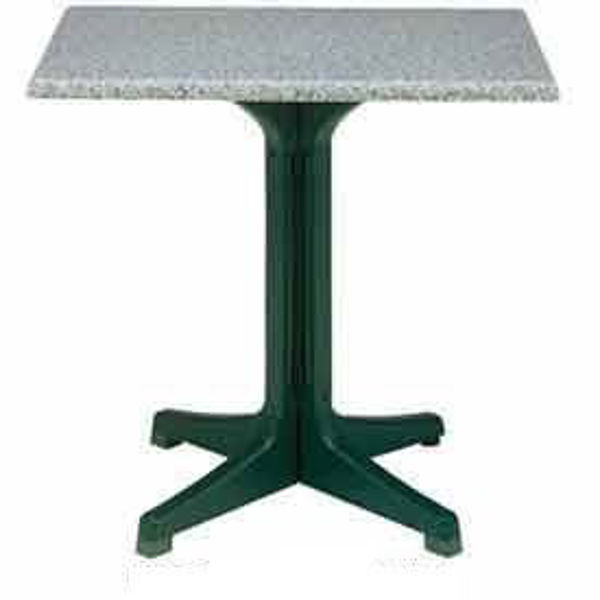 """Picture of Grosfillex 32"""" Square Table Top Without Umbrella Hole In Granite Green Pack Of 1"""