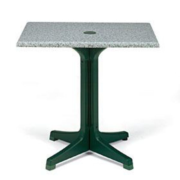 "Picture of Grosfillex 32"" Square Table Top With Umbrella Hole In Granite Green Pack Of 1"