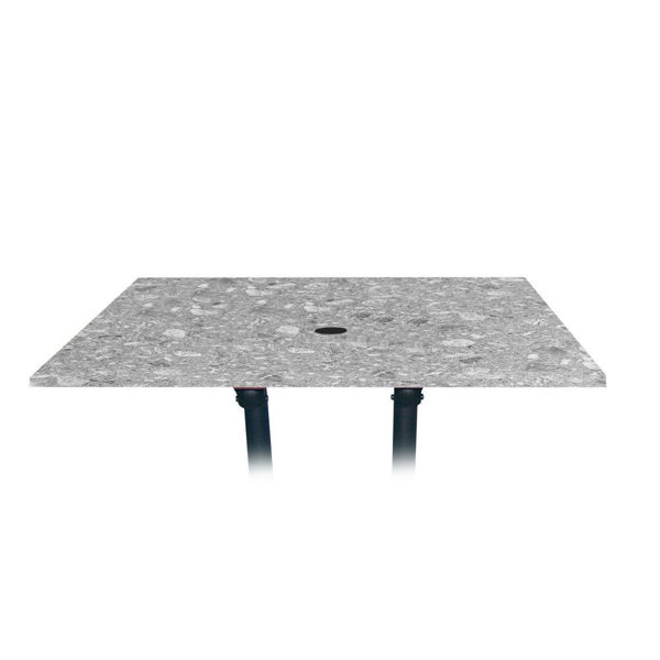 Picture of Grosfillex 48' x 32' Table Top With Umbrella Hole In Tokyo Stone Pack Of 1