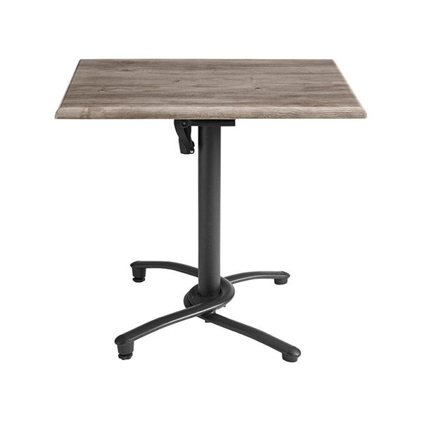 Picture of Grosfillex 48' x 32' Table Top With Umbrella Hole In Aged Oak Pack Of 1