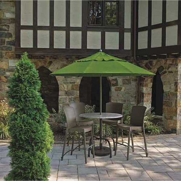Picture of Grosfillex Bar Height Tulip Table Base with Umbrella Hole In Black Pack Of 20