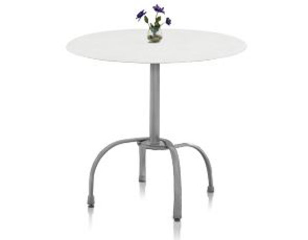 Picture of Grosfillex Bar Height Tulip Table Base with Umbrella Hole In Silver Gray Pack Of 2