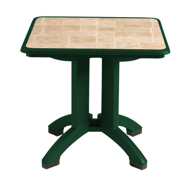 "Picture of Grosfillex Siena 32"" Square Resin Folding Table In Amazon Gree Pack Of 2"