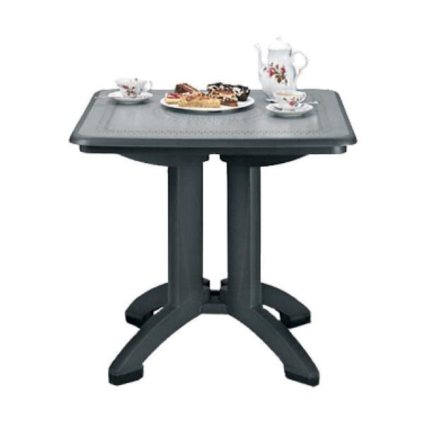 """Picture of Grosfillex Victoria 32"""" Square Resin Folding Table In Charcoal Pack Of 2"""