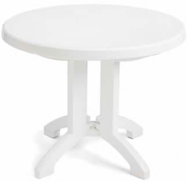 "Picture of Grosfillex Vega 38"" Round Resin Folding Table In White Pack Of 14"
