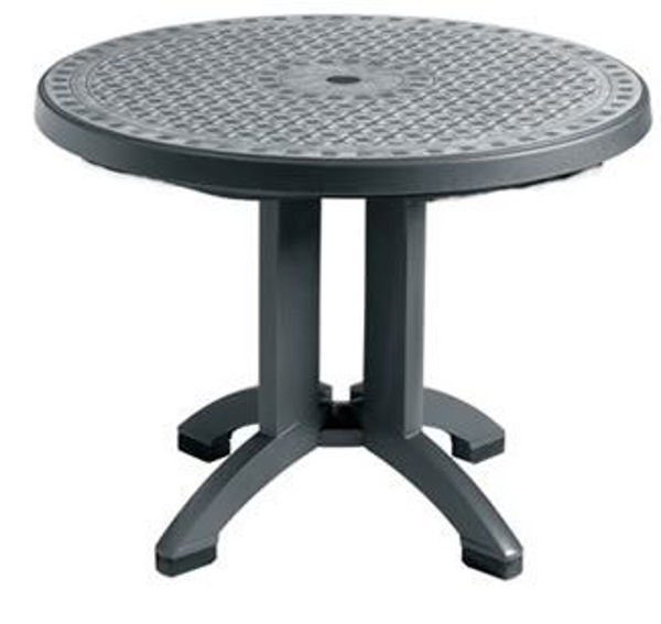"Picture of Grosfillex Toledo 38"" Round Resin Folding Table In Charcoal Pack Of 1"