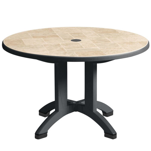 """Picture of Grosfillex Siena 38"""" Round Resin Folding Table In Charcoal Pack Of 1"""