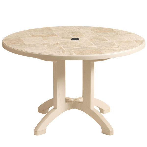 "Picture of Grosfillex Siena 38"" Round Resin Folding Table In Sandstone Pack Of 1"