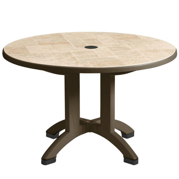 """Picture of Grosfillex Siena 38"""" Round Resin Folding Table In Bronze Mist Pack Of 1"""