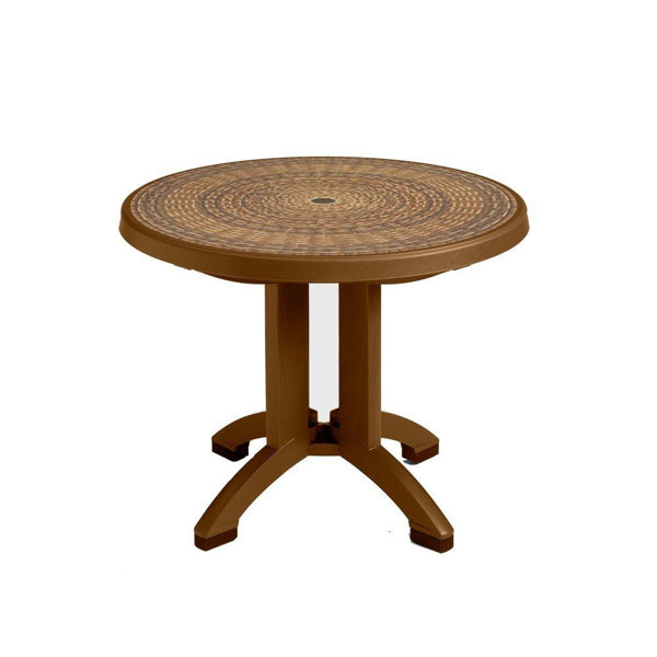 "Picture of Grosfillex Havana 38"" Round Resin Folding Table In Tobacco Pack Of 1"