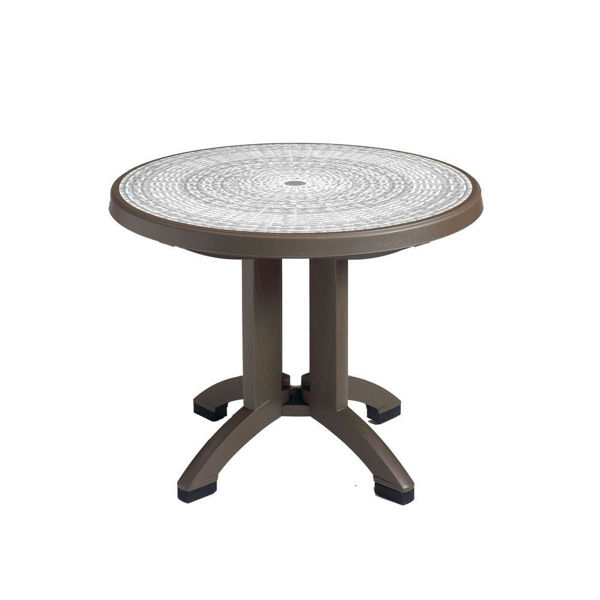 """Picture of Grosfillex Havana 38"""" Round Resin Folding Table In White Pack Of 1"""