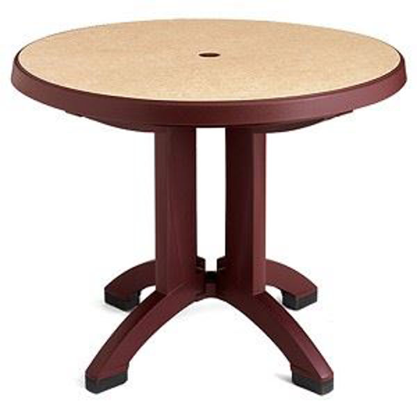 """Picture of Grosfillex Pietra 38"""" Round Resin Folding Table In Bordeaux Pack Of 1"""